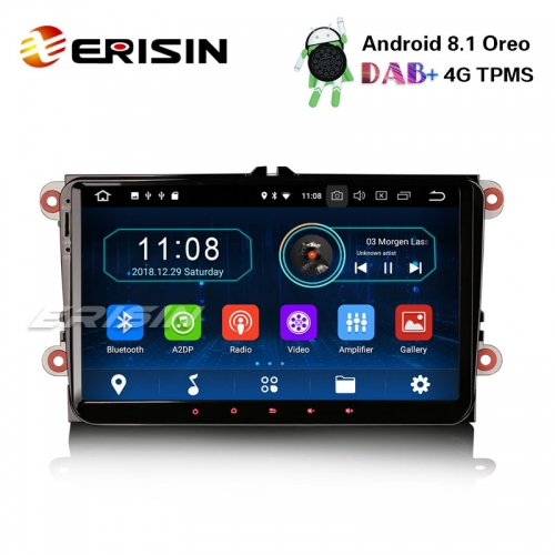 "Erisin ES3991V 9"" DAB+Android 8.1 Car Stereo OBD For VW Golf Passat Tiguan Polo Seat GPS OPS BT"