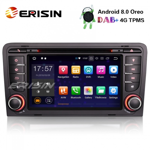 "Erisin ES7847A 7"" 8-Core Android 8.0 Car Stereo GPS OBD DVR DAB+ DTV BT CD AUDI A3 S3 RS3 RNSE-PU"