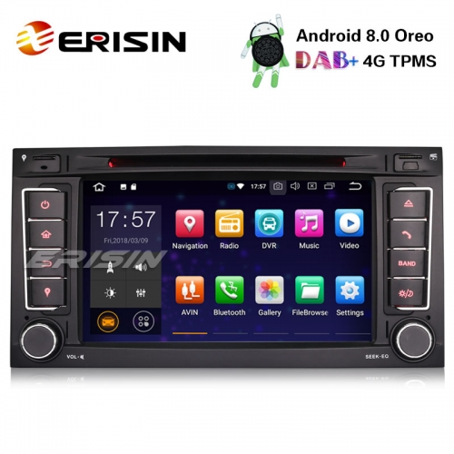 "Erisin ES7856T 7"" Android 8.0 Car Stereo DAB+GPS DVR Wifi DVD DTV OBDII For VW T5 Multivan Touareg"