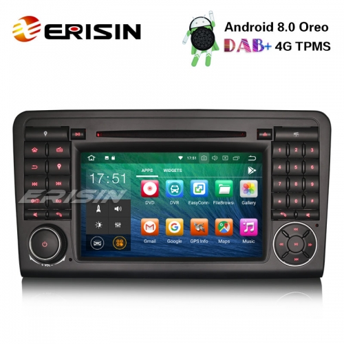 "Erisin ES7883L 7"" Android 8.0 Autoradio GPS DAB+SD BT Navi DVD Wifi Mercedes Benz ML/GL Class W164"