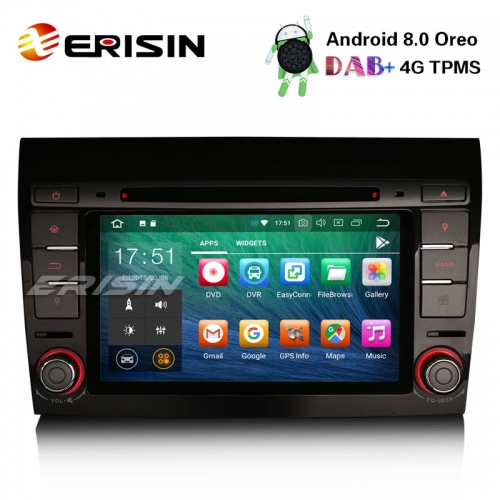 "Erisin ES7871F 7"" Android 8.0 Car Stereo GPS Wifi Sat Nav DAB+ DVR CD Bluetooth OBD SD FIAT BRAVO"