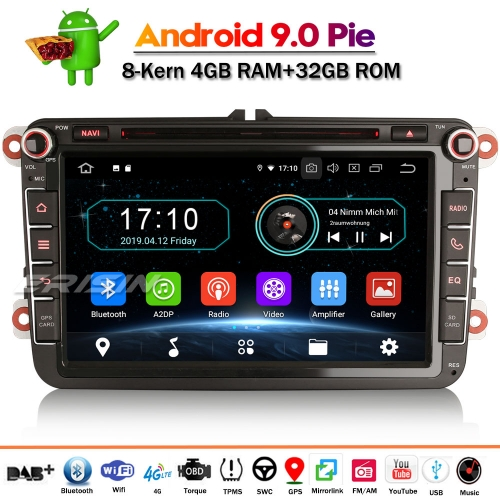"ES8985V 8"" Android 9.0 DAB+ Car Stereo Sat Nav OPS for VW Golf 5/6 Passat Tiguan Caddy Polo Seat"