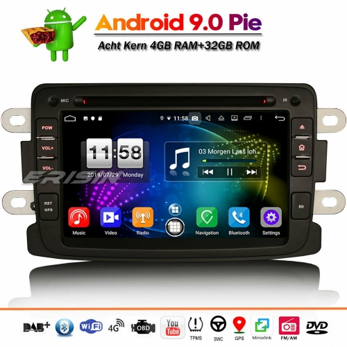 Erisin ES7783D DAB+ Android 9.0 Autoradio Wifi Canbus DVB-T2 OBD for Renault Dacia Duster Logan Dokker Lodgy