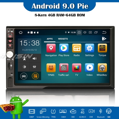"Erisin ES7941U 7"" HD Double Din Android 9.0 Car Stereo GPS Satnav WiFi TPMS DAB+DVR DTV-IN OBD2"