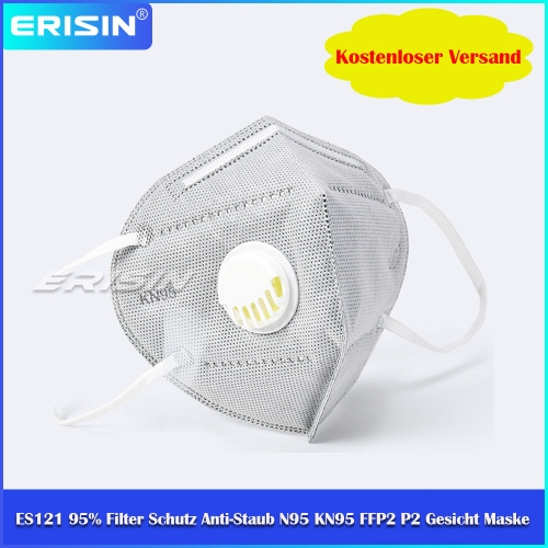 ES121 N95 KN95 FFP2 P2 Face Anti-Dust Mask Respirator Valve Reusable 6Ply 95% Filter Protection (CE Certified, GB2626-2006 KN95 Standard)