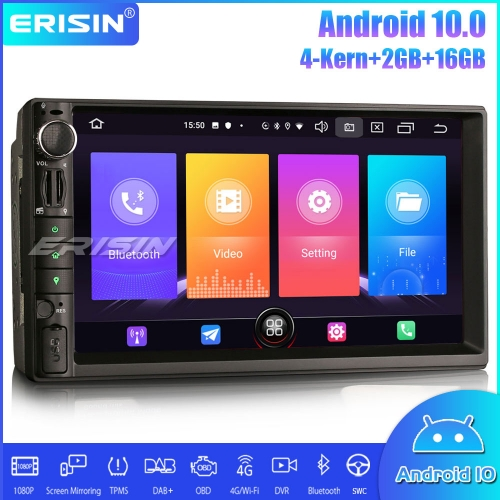 "Erisin ES2749U 7"" Double 2 Din Android 10.0 Car Stereo Sat Nav WiFi DAB + TPMS DTV CarPlay Bluetooth OBDII DVR"