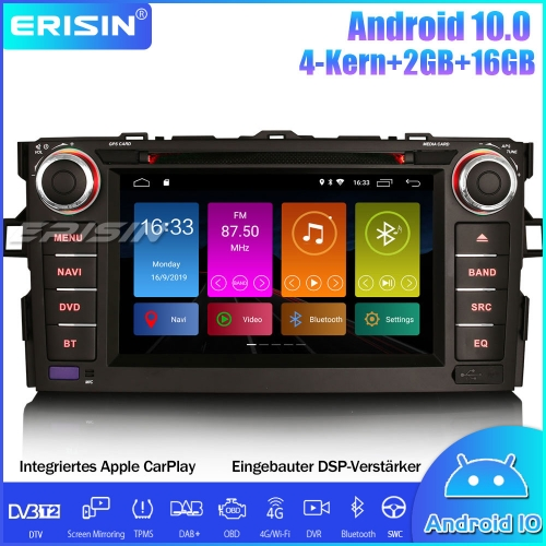 Android 10.0 Car Stereo for TOYOTA AURIS COROLLA ALTIS WIFI Bluetooth DAB+ DSP CarPlay OBD Sat Nav