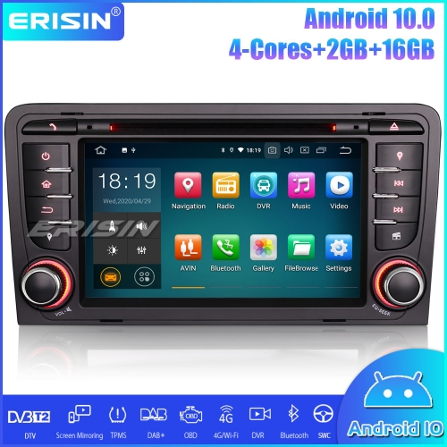 Erisin ES5147A Android 10.0 Car Stereo Sat-Nav DAB + DTV CarPlay Wifi 4G DVD OBD for AUDI A3 S3 RS3 RNSE-PU
