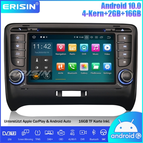 Erisin ES5179A Android 10.0 Car Stereo Sat Nav GPS DAB+ CarPlay Wifi DVD OBD TPMS Canbus for AUDI TT MK2/TT Roadster