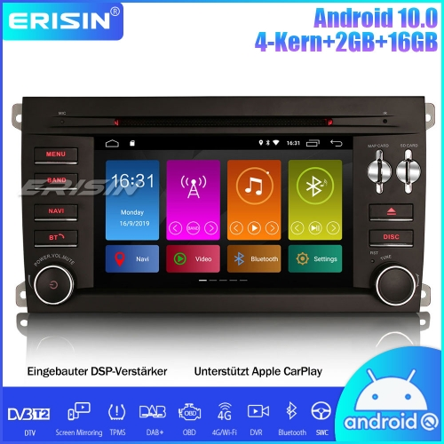 Erisin ES3014P DAB+DSP Android 10.0 Car Stereo DVD GPS OBD Wifi Navi SWC CarPlay For Porsche Cayenne