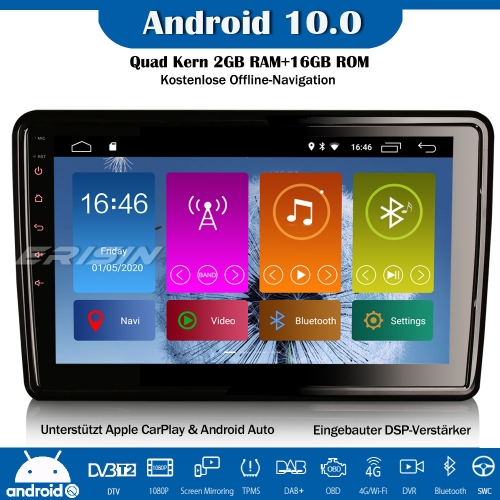 "Erisin ES2921U 10.1"" Double Din Android 10.0 DSP Car Stereo DAB+GPS WiFi OBD CarPlay DVR Bluetooth SWC TPMS DVR"