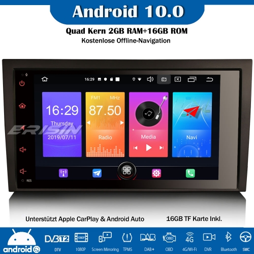 "Erisin ES2778A 8"" DAB+ Android 10.0 Car Stereo Radio GPS WiFi SWC CarPlay Canbus DVB-T2 For AUDI A4 S4 RS4 RNS-E Seat Exeo"
