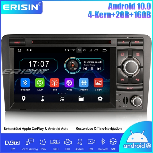 Erisin ES5973A Android 10.0 Car Stereo Radio Sat Nav CarPlay WiFi DAB+ DVD TPMS DTV OBD SWC For AUDI A3 S3 RS3 RNSE-PU