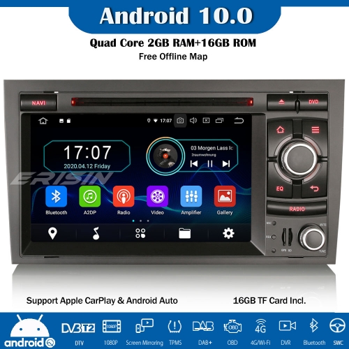 Erisin ES5974A Android 10.0 Car Stereo Radio Sat Nav CarPlay WiFi DAB+ DVD TPMS DTV OBD SWC For Audi A4 B7 S4 RS4 RNS-E Seat Exeo