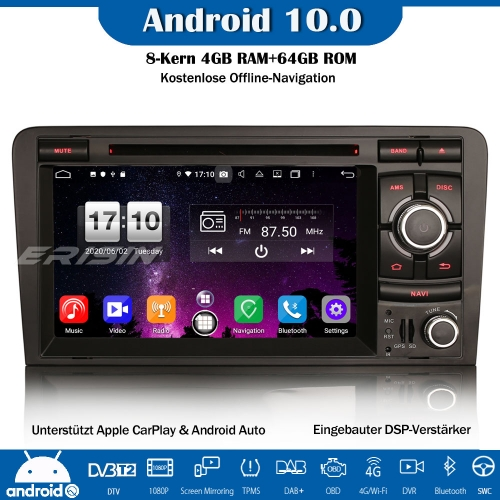 Erisin ES8737A 8-Core Android 10.0 DAB+DSP Car Radio CarPlay OBD GPS DVD SWC For AUDI A3 S3 RS3 RNSE-PU