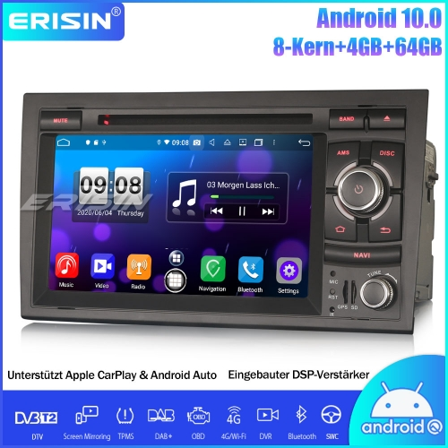 Erisin ES8738A 8-Core Android 10.0 DAB+DSP Car Stereo Bluetooth CarPlay OBD GPS DVD SWC For Audi A4 S4 RS4 RNS-E Seat Exeo