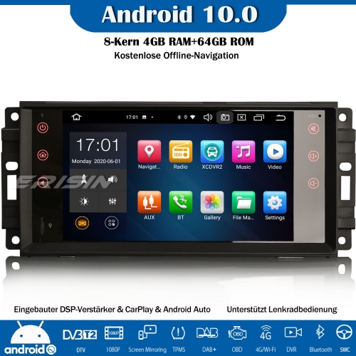 Erisin ES8176J 8-Core Android 10.0 DAB+DSP Car Stereo CarPlay Sat Nav OBD GPS SWC Bluetooth CD For Jeep Compass Chrysler Sebring Dodge