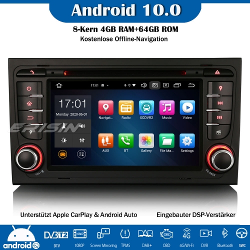 Erisin ES8178A 8-Core Android 10.0 DAB+ DSP Car Stereo CarPlay OBD GPS SWC Bluetooth  For Audi A4 S4 RS4 RNS-E Seat Exeo