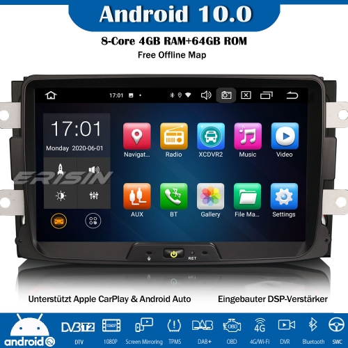Erisin ES8129D 8-Core Android 10.0 DAB+DSP Car Radio CarPlay OBD GPS SWC For Renault Dacia Duster Sandero Dokker Lodgy