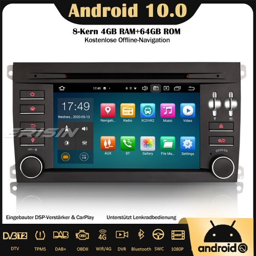Erisin ES8197S 8-Core Android 10.0 DAB+ DSP Car Stereo CarPlay Sat Nav OBD GPS SWC Bluetooth CD For Porsche Cayenne