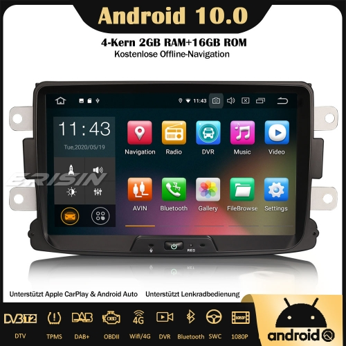 Erisin ES5129D Android 10.0 Car Stereo Sat Nav DAB + GPS CarPlay Wifi 4G OBD SWC RDS for Renault Dacia Duster Logan Dokker Lodgy