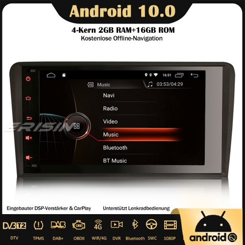 "Erisin ES4284A 8"" DSP DAB+Android 10.0 Car Stereo Sat Nav GPS CarPlay Wifi RDS OBD DVB-T2 4G For AUDI A3 S3 RS3 RNSE-PU"