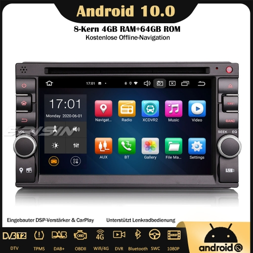 Erisin ES8136U 8-Core DAB+ Universal Android 10.0 Double Din Car Stereo Sat Nav GPS DSP WiFi OBD Bluetooth 64GB CarPlay RDS TPMS for NISSAN