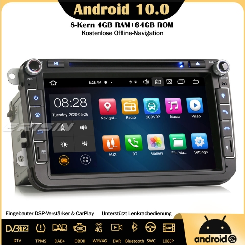 "Erisin 8"" ES8105V 8-Core 64GB Android 10.0 DAB+DSP Car Stereo CarPlay OBD DVR GPS DVD SWC DTV For VW Passat Golf 5/6 Jetta Tiguan Eos Polo Seat Skoda"