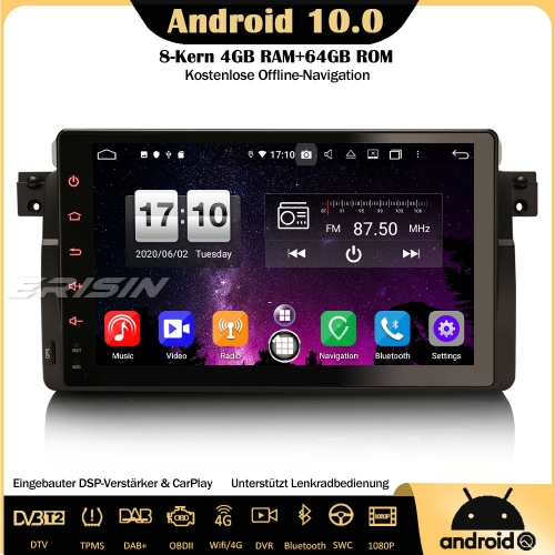 "Erisin ES8796B 9"" Android 10.0 Car Radio DAB+ GPS Bluetooth DSP CarPlay OBD SWC DTV For BMW 3 Series 3er E46 318 320 325 M3 Rover 75 MG ZT"