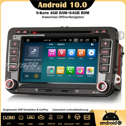 Erisin ES8148V 8-Core Android 10.0 DAB+DSP Car Stereo CarPlay OBD DVR Sat Nav GPS DVD SWC DTV For VW Passat Golf 5/6 Jetta Tiguan Eos Polo Seat Skoda