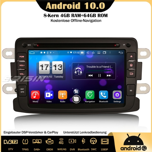 Erisin ES8783D 8-Core Android 10.0 DAB+DSP Car Radio CarPlay OBD GPS SWC For Renault Dacia Duster Sandero Dokker Lodgy