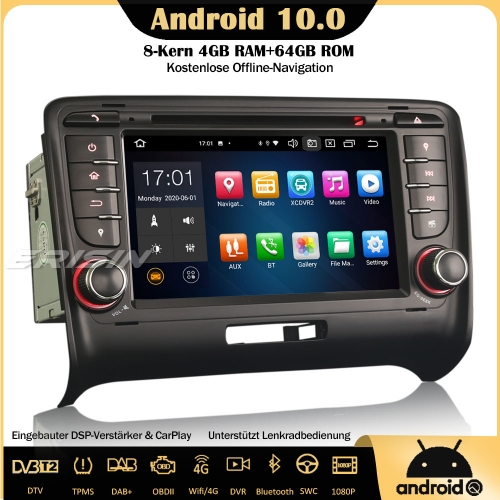 Erisin ES8179A 8-Core Android 10.0 DAB+DSP Car Stereo CarPlay OBD GPS SWC TPMS Canbus DVD USB Bluetooth RDS 4G For AUDI TT MK2