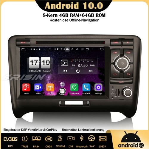 Erisin ES8739A 8-Core Android 10.0 DAB+DSP Car Stereo CarPlay OBD GPS SWC TPMS Canbus DVD USB Bluetooth RDS 4G For AUDI TT MK2