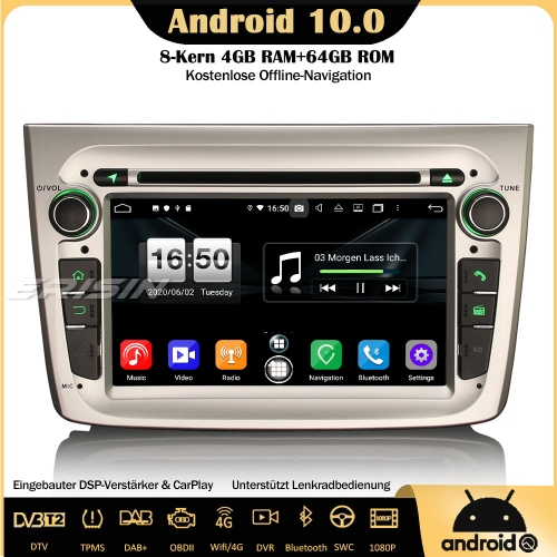 Erisin ES8730SM 8-Core DSP DAB+Android 10.0 Car Stereo Sat Nav GPS OBD DVD CarPlay Wifi TPMS SWC DVB-T2 4G For Alfa Romeo Mito