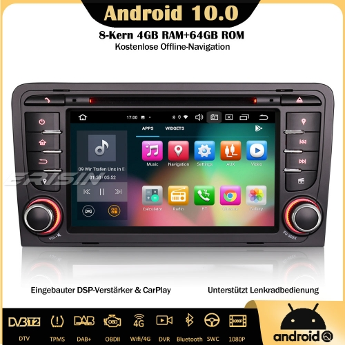 Erisin ES8178A 8-Core Android 10.0 DAB+ DSP Car Stereo CarPlay OBD GPS SWC Bluetooth TPMS Canbus For AUDI A3 S3 RS3 RNSE-PU