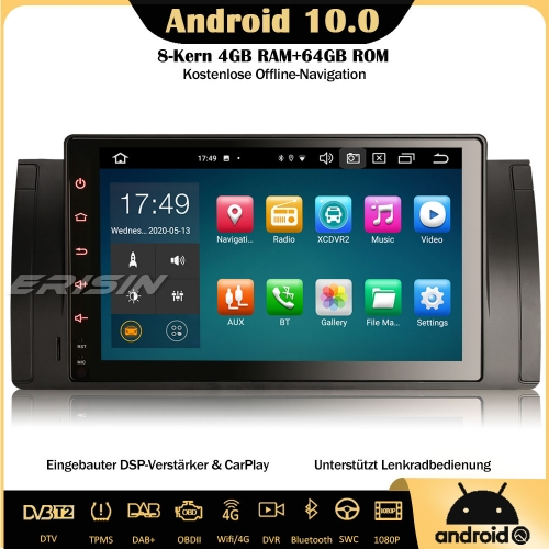 "Erisin ES8102B 9"" Android 10.0 8-Core Car Stereo DAB+ Sat Nav Bluetooth DSP CarPlay OBD Wifi TPMS SWC For BMW 5er 5 Series E39 X5 E53 M5"