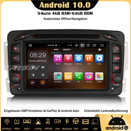 Erisin ES8163C 8-Core Android 10.0 Autoradio DSP CarPlay DAB+OBD GPS SWC DTV RDS 4G DVD Bluetooth  Sat Nav For Mercedes Benz C/G-Class CLK Viano Vito