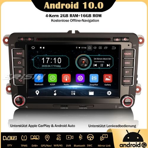 Erisin ES5948V Android 10.0 Car Stereo GPS WiFi DAB+ OPS DTV CarPlay OBD Sat Nav SWC For VW Passat Polo Golf V/VI T5 Tiguan Caddy EOS Seat Skoda