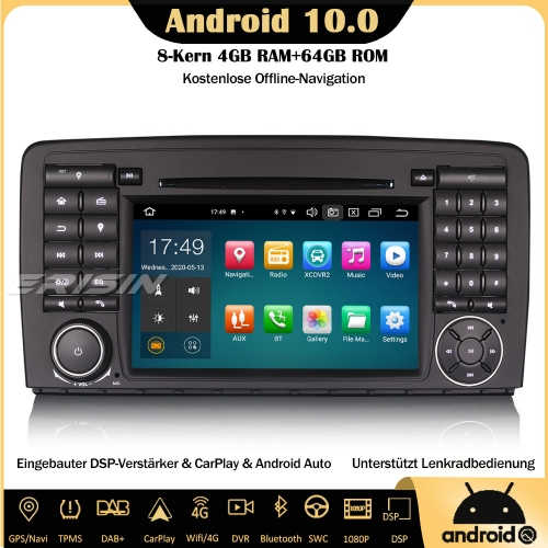 Erisin ES8181R 8-Core DSP Android 10.0 Autoradio CarPlay DAB+OBD GPS SWC DTV RDS 4G DVD Bluetooth Sat Nav For Mercedes Benz R-ClassW251