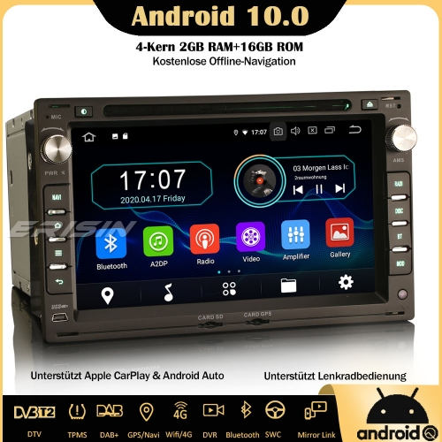 Erisin ES5986V DAB + Android 10.0 Car Stereo Wifi CarPlay Sat Nav OBD DVR SWC 4G for VW Golf Passat Polo Lupo Seat Leon Peugeot 307 Ford Galaxy