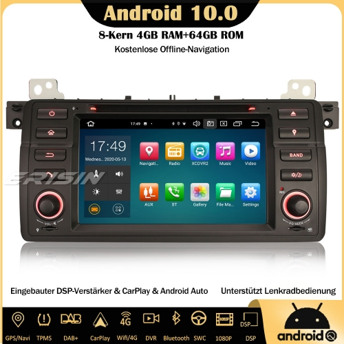 Erisin ES8162B 8-Core Android 10.0 Car Stereo For BMW 3 Series 3er E46 318 320 M3 Rover 75 MG ZT DAB+ GPS DSP CarPlay Bluetooth OBD SWC DTV Sat Nav