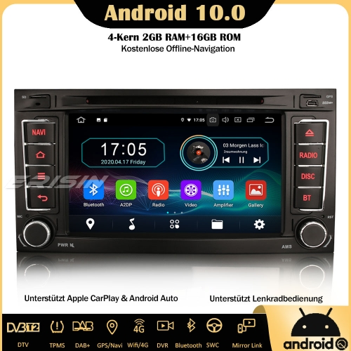 Erisin ES5956T Android 10.0 Car Stereo GPS WiFi DAB+ OPS DTV CarPlay OBD Sat Nav SWC TPMS  For VW Touarge T5 Multivan V Transporter V