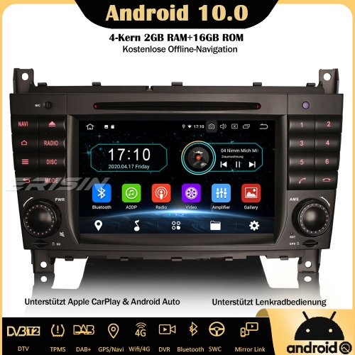 Erisin ES5969C Android 10.0 Car Stereo GPS WiFi DAB+ DTV CarPlay OBD Sat Nav 4G SWC TPMS  For Mercedes Benz C/CLK/CLC Class W203 W209