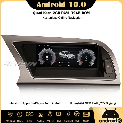 "Erisin ES2614A 8.8"" DAB+ Android 10.0 Car Stereo Sat Nav SWC Canbus CarPlay IPS RDS DVR 4G Wifi Bluetooth For Audi A4 2013-2016"