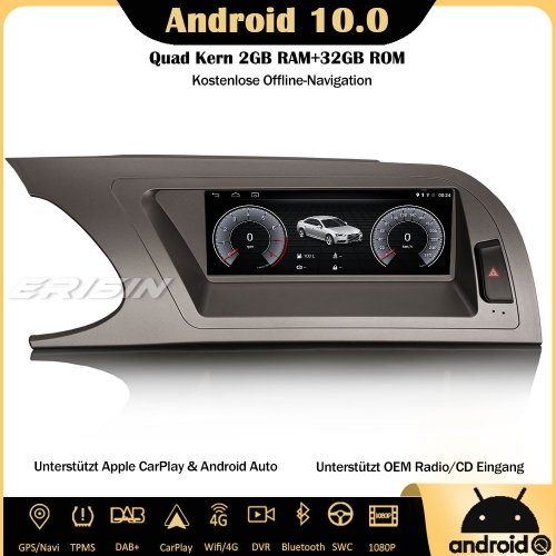 "Erisin ES2604A 8.8"" DAB+ Android 10.0 Car Stereo Sat Nav SWC Canbus CarPlay IPS RDS DVR 4G Wifi Bluetooth For Audi A4 2009-2012"