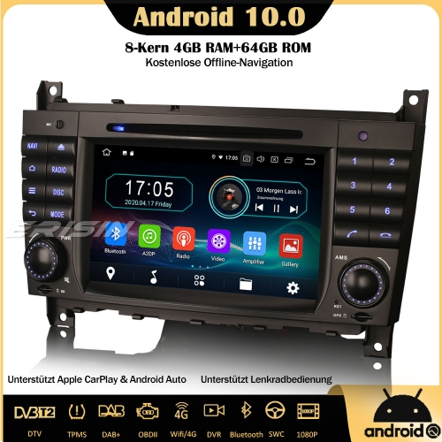 Erisin ES6969C Octa-Core Android 10.0 Car Stereo GPS WiFi DAB+ DTV CarPlay OBD Sat Nav 4G SWC TPMS  For Mercedes Benz C/CLK/CLC Class W203 W209