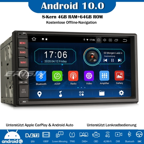 Erisin ES6970U 4GB RAM + 64GB ROM Double Din 8-Core Double Din Android 10.0 Car Radio CarPlay GPS WiFi DVB-T2 DAB + 4G Bluetooth OBD2 RDS
